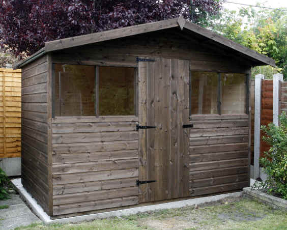 10 x 6 chalet garden shed with extended roof