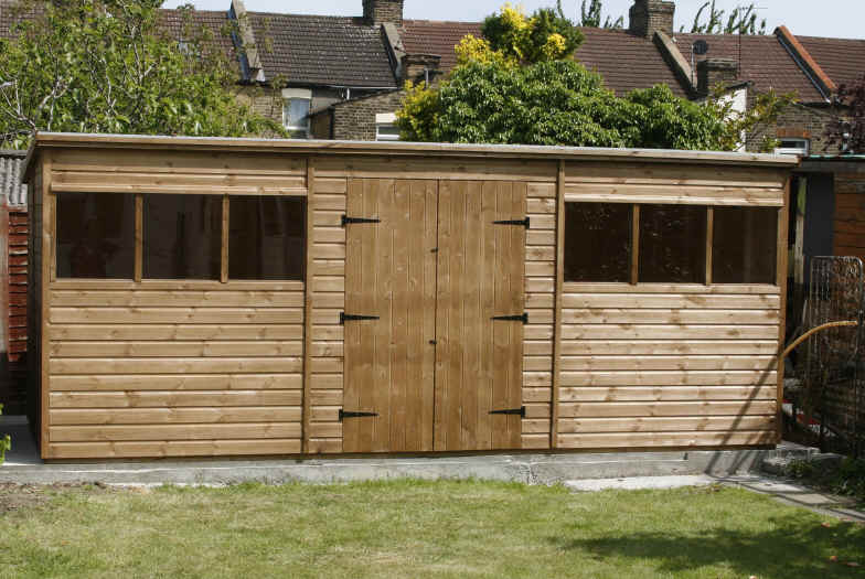 Bespoke 18 x 8 pent garden shed with double doors - made to go through a house