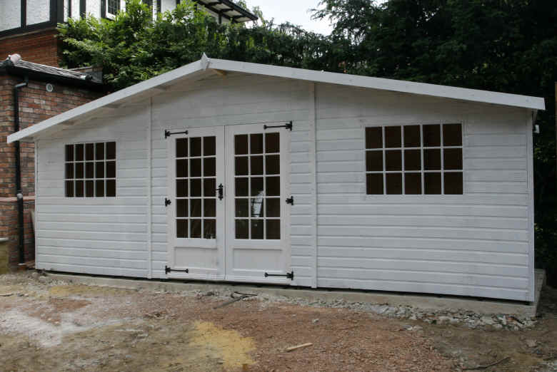 Bespoke 20 x 6 georgian shed in white