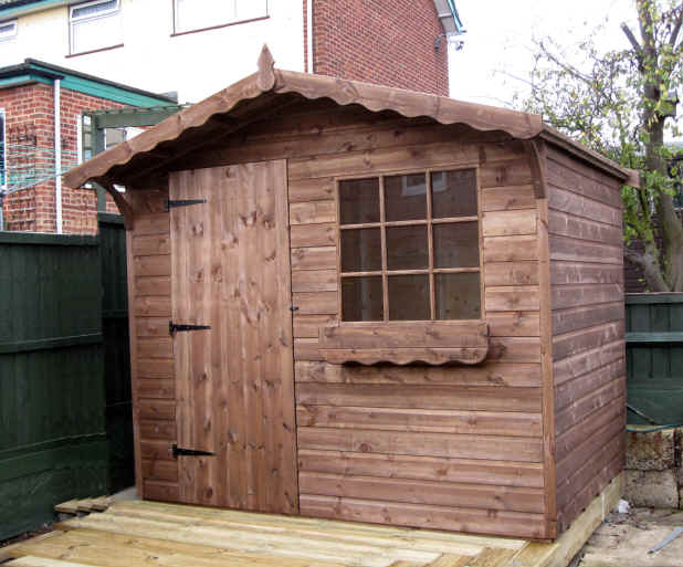 Bespoke 8 x 6 chalet cain style garden shed