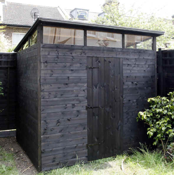 Bespoke 8 x 6 pent roofed shed hi-line windows by Sheds Unlimited