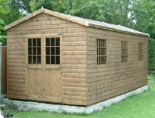 24 x 10 apex garden shed with georgian windows and doors