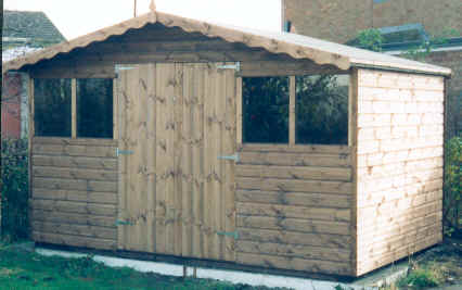 12 x 8 chalet style garden shed with double doors and extended roof