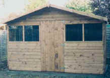 11 x 8 chalet style garden shed with extended roof