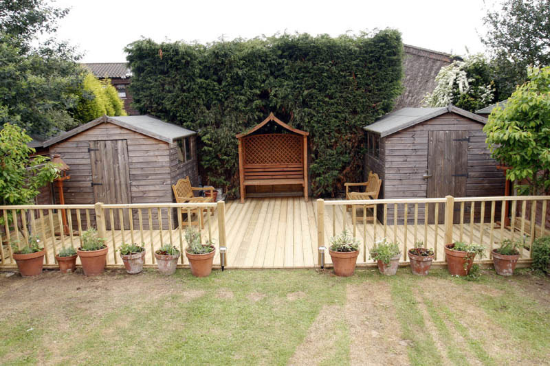 Decking from sheds unlimited timber decking supplied and for Garden shed essex
