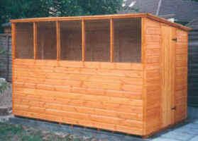 Custom built 10 x 6 Pent roofed garden shed with deeper windows and side door