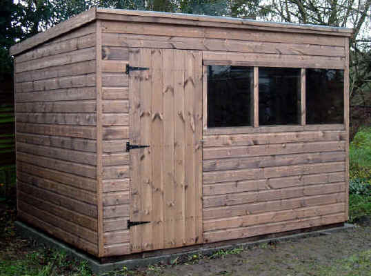 10 X 8 pent roofed garden shed